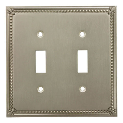 Cosmas 44031-SN Satin Nickel Double Toggle Switchplate Cover - Cosmas