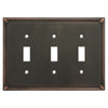 Cosmas 44032-ORB Oil Rubbed Bronze Triple Toggle Switchplate Cover - Cosmas