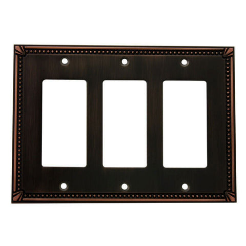 Cosmas 44095-ORB Oil Rubbed Bronze Triple GFCI / Decora Wall Plate - Cosmas