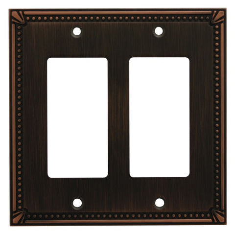 Cosmas 44098-ORB Oil Rubbed Bronze Double GFCI / Decora Wall Plate - Cosmas