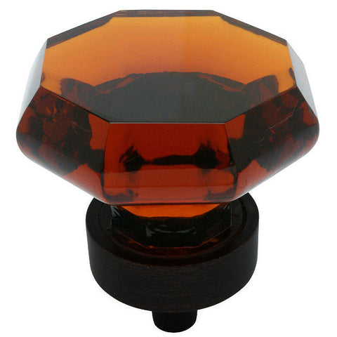Cosmas 5268ORB-A Oil Rubbed Bronze & Amber Glass Cabinet Knob - Cosmas