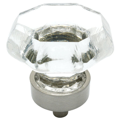 Cosmas 5268SN-C Satin Nickel & Clear Glass Cabinet Knob - Cosmas