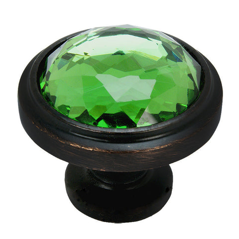 Cosmas 5317ORB-EM Oil Rubbed Bronze & Emerald Glass Round Cabinet Knob - Cosmas