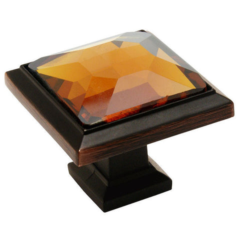 Cosmas 5883ORB-A Oil Rubbed Bronze & Amber Glass Square Cabinet Knob