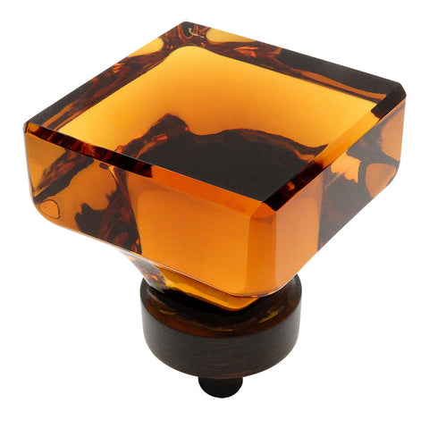 Cosmas 6377ORB-A Oil Rubbed Bronze & Amber Glass Square Cabinet Knob - Cosmas