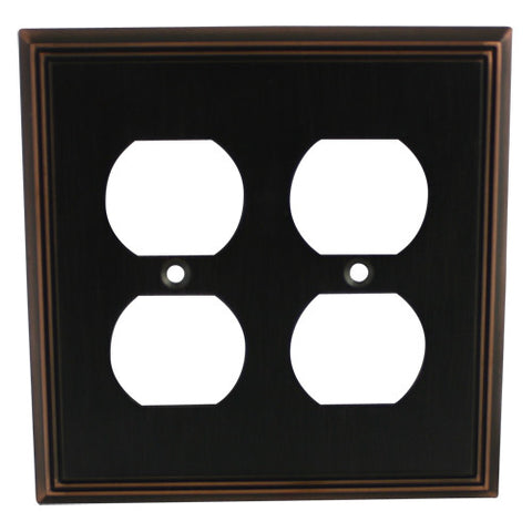 Cosmas 65044-ORB Oil Rubbed Bronze Double Duplex Outlet Wall Plate - Cosmas