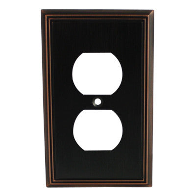 Cosmas 65049-ORB Oil Rubbed Bronze Single Duplex Outlet Wall Plate - Cosmas