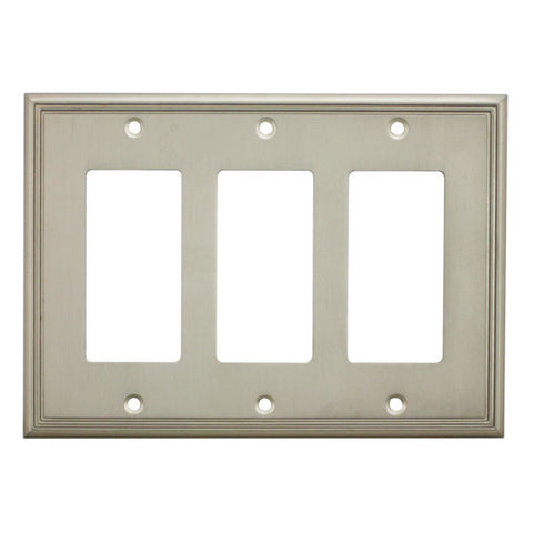 Cosmas 65070-SN Satin Nickel Triple GFCI / Decora Wall Plate - Cosmas