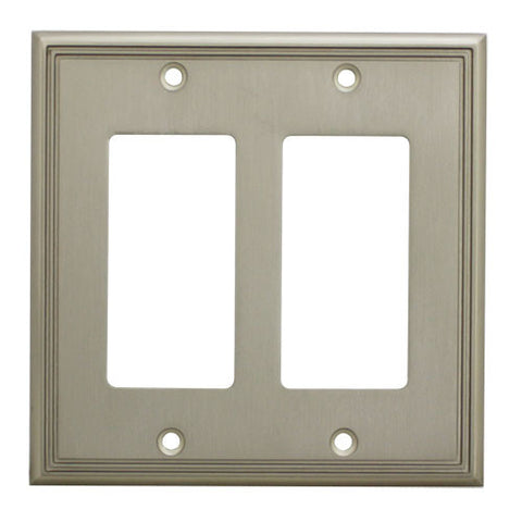 Cosmas 65088-SN Satin Nickel Double GFCI / Decora Wall Plate - Cosmas