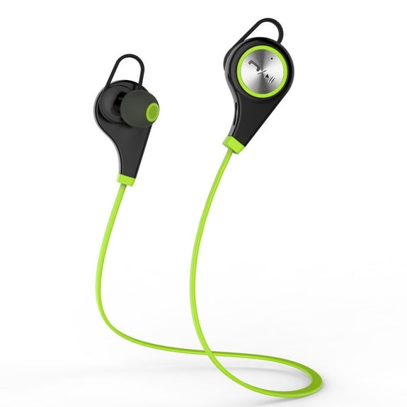 Bluetooth Classic Sports Stereo Earphones, Deep Bass, with Handsfree Mic, Noise Cancellation, Green-Bluetooth Headphone Earphone Wireless Handsfree Universal for iphone and Android phones-BM-CCTY-Q9-BT-GRN-CurioCity-India