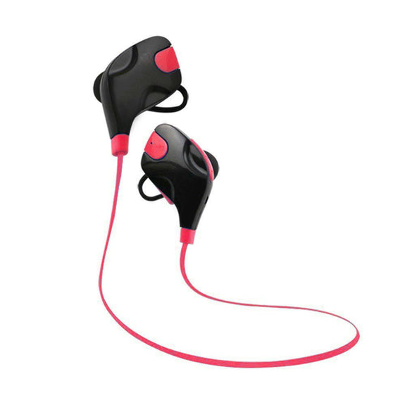 Bluetooth Sports Stereo Earphones, Deep Bass, built-in Handsfree Mic, Noise Cancellation, Red-Bluetooth Headphone Earphone Wireless Handsfree Universal for iphone and Android phones-BM-Q9-V2-RED-CurioCity-India
