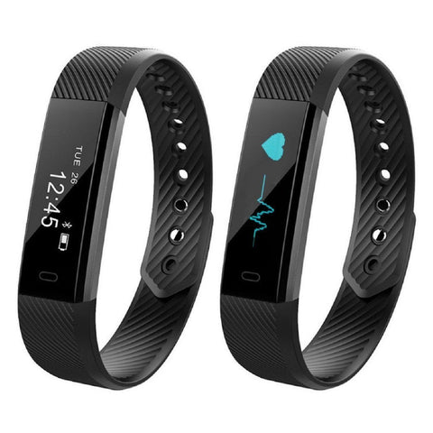 CD115HR Bluetooth Smart Band fitness tracker with Pedometer, Heart Rate Monitor for Android, iPhone-Smart Fitness Band Health, Activity, Sleep Tracker-BM-CD115HR-BLK-CurioCity-India
