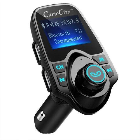 CT11 Bluetooth Car Handsfree Kit Stereo FM Transmitter, USB Charger, Music from BT/Micro SD/USB/AUX-Car Handsfree Kit Bluetooth Car Speakerphone with FM Radio Streaming-BM-CARKIT-T11-CurioCity-India