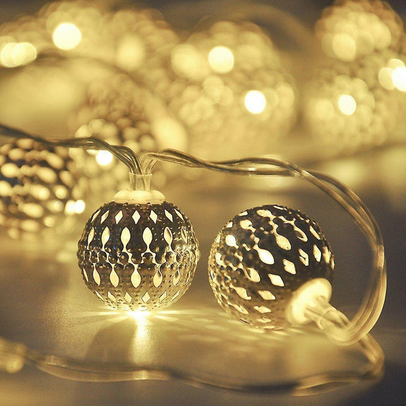CurioCity Decorative Silver Filigree Metal Globe LED String Lights, battery operated, Warm White-Decor Lights for Festivals, Home, Garden, Restaurants-LIGHT-STRNG-BALL-CurioCity-India