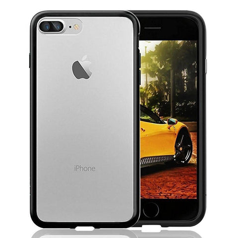 CurioCity(TM) iPhone 7 Plus Case,Anti-Scratch,Transparent soft back with Metallic Black Side Bumpers-Mobile Phone Case Protective Cover-BM-I7P-TPU-MTL-1-CurioCity-India