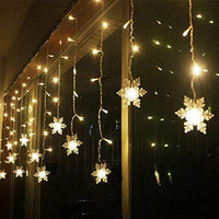 Snowflake LED Icicles Lights Curtain, 8 Flashing Modes, Decoration for Wedding, Party, Home, Patio-Decor Lights for Festivals, Home, Garden, Restaurants-Warm White-SNOW-CURTN-WWHT-CurioCity-India