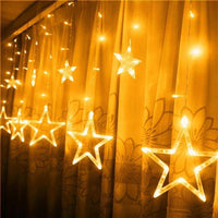 Star Light Curtain with 8 Flashing Modes Decoration for Wedding, Party, Home, Patio, Lawn-Decor Lights for Festivals, Home, Garden, Restaurants-Golden-STAR-CURTN-GLD-CurioCity-India
