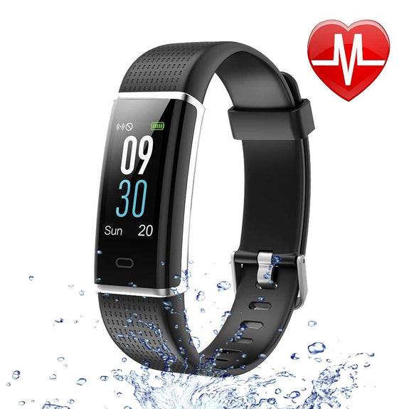 Waterproof Bluetooth Sports Activity Fitness Tracker, Heart Rate Monitor Smart Band, Color Display-Smart Fitness Band Health, Activity, Sleep Tracker-BM-130CHR-BK-CurioCity-India