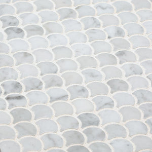 Jeffrey Court Cloudy Daze White 11.2 in x 11.6 in Honed Natural Stone Mosaic Tile