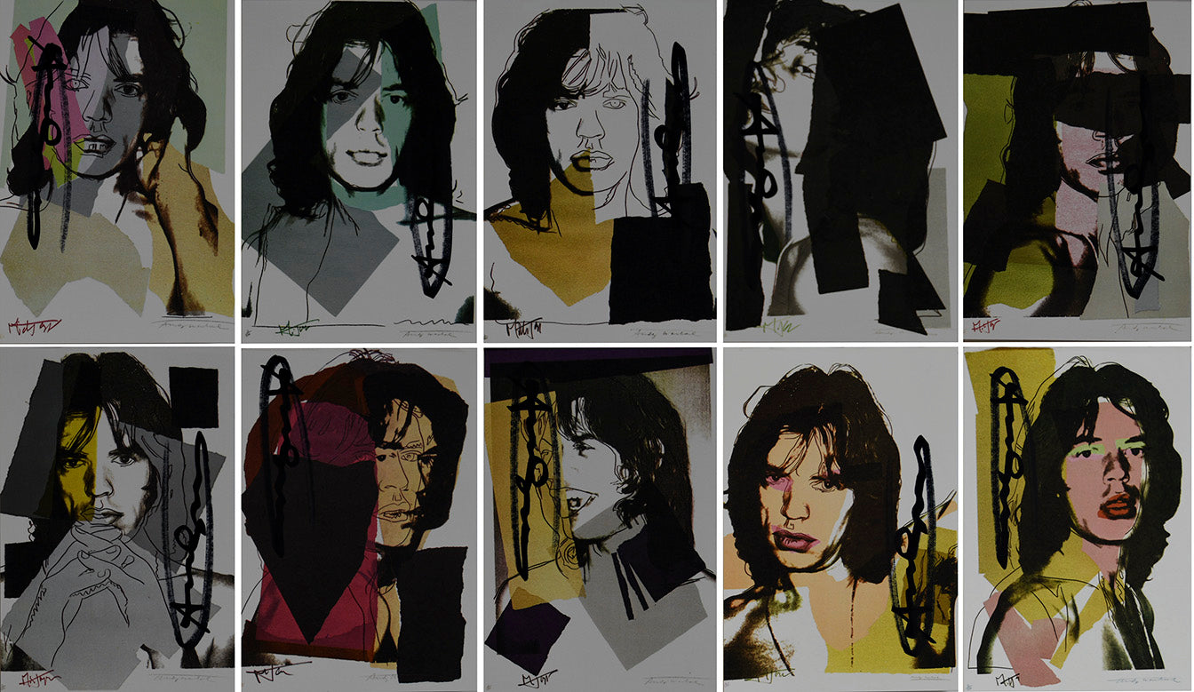 Mick Jagger portfolio, 1975, hand signed and Endangered Species by Andy Warhol,