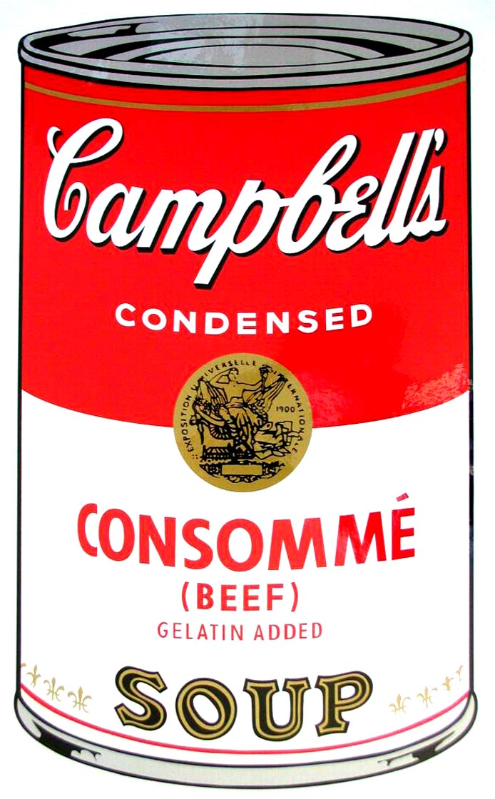Campbell's Soup I, 1968,  Beef Consommé Soup,  by Andy Warhol