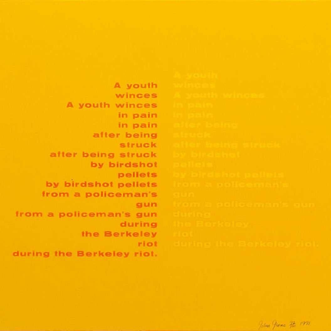 Poem from the On the Bowery portfolio, 1969 by John Giorno