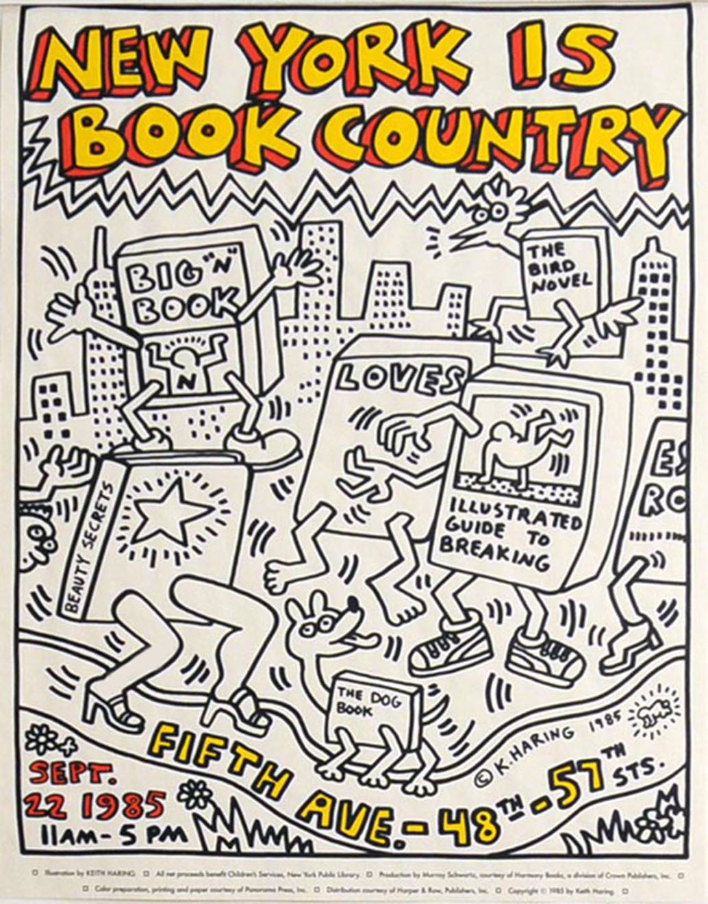 NEW YORK IS BOOK COUNTRY POSTER by Keith Haring
