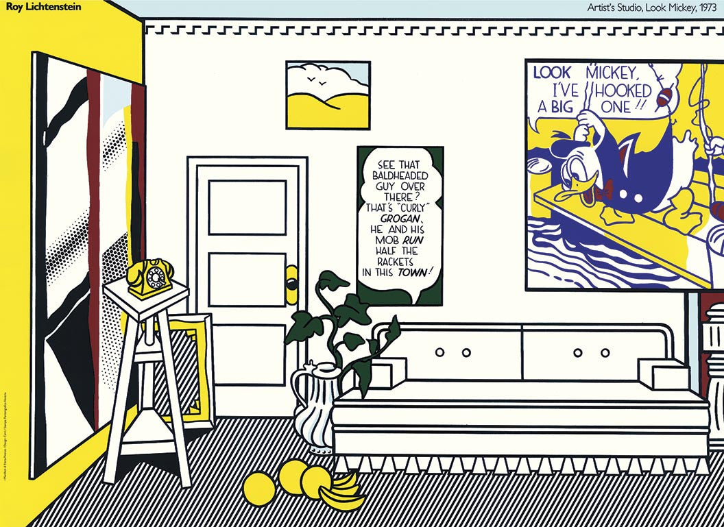 ROY LICHTENSTEIN Artists Studio Look Mickey,unsigned