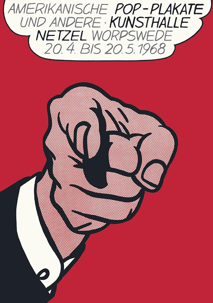 ROY LICHTENSTEIN FINGER POINTING KUNSTHALLE netzel,unsigned