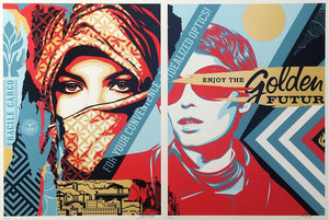 GOLDEN FUTURE FOR SOME, 2017  by Frank Shepard Fairey (Obey)