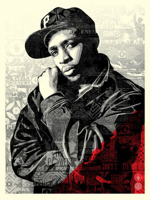 CHUCK D BLACK STEEL SCREEN PRINT (RED) by Frank Shepard Fairey (Obey)