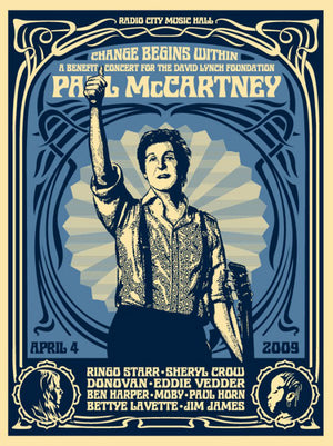 PAUL MCCARTNEY CHANGE BEGINS  by Frank Shepard Fairey (Obey)