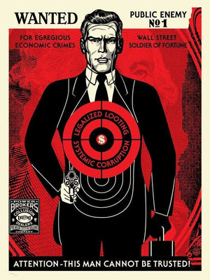 WALL STREET PUBLIC ENEMY  by Frank Shepard Fairey (Obey)