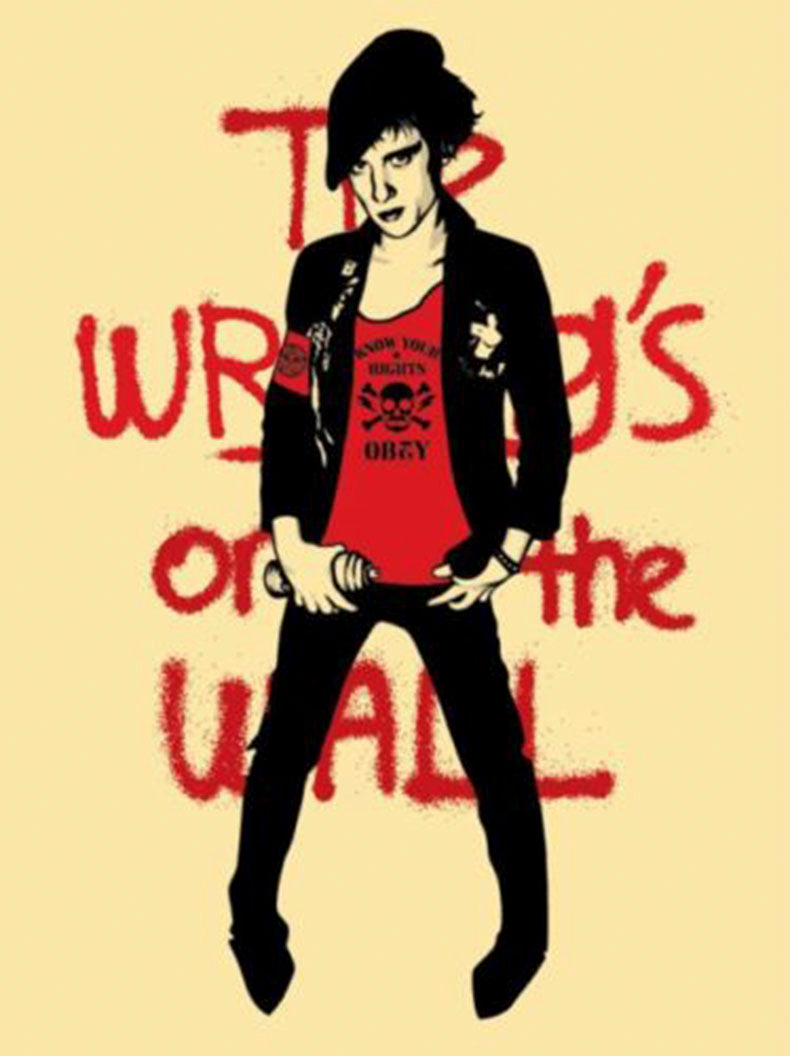 THE WRITING IS ON THE WALL, white   by Frank Shepard Fairey (Obey)