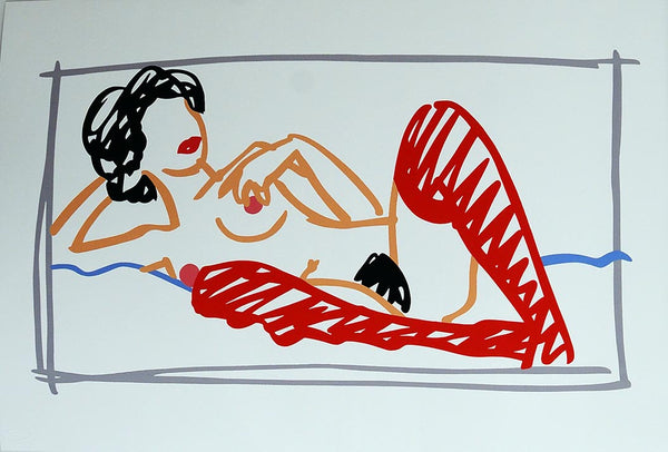 Fast Sketch Red Stocking Nude by Tom Wesselmann