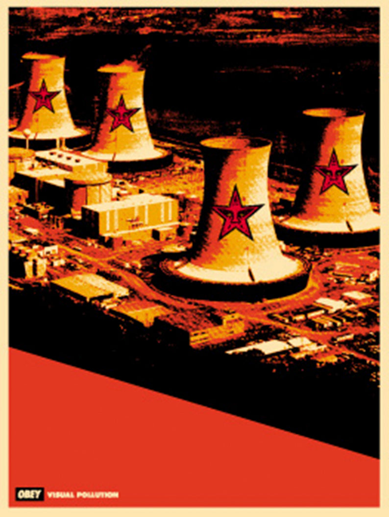 VISUAL POLLUTION SMOKE STACKS   by Frank Shepard Fairey (Obey)