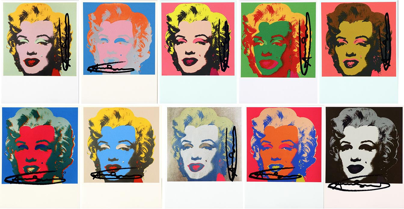 Marilyn Monroe CARDS1967, hand signed by Andy Warhol