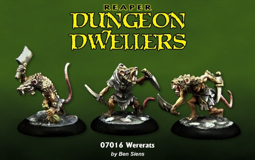 07016: Dungeon Dwellers: Wererats (3 figures) Sculpted by Ben Siens