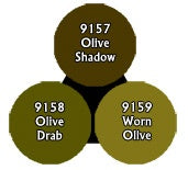 Reaper: Master Series Paints - 09753: Olive Drabs Triad