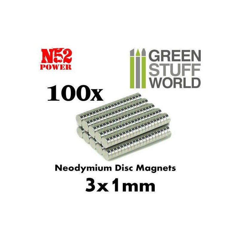 Neodymium Magnets 3x1mm - 100 units (N52) -9263- Green Stuff World
