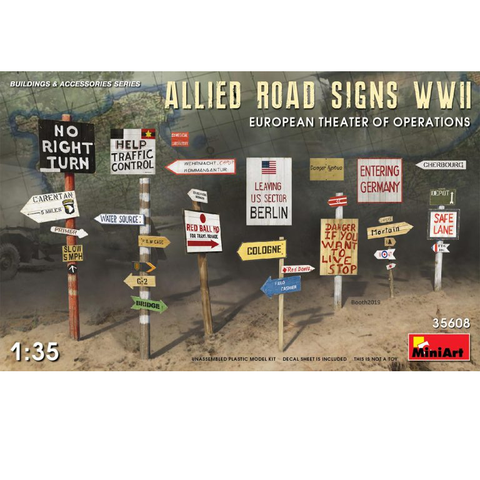 ALLIED ROAD SIGNS WWII. EUROPEAN THEATRE OF OPERATIONS- 1:35- MiniArt - 35608