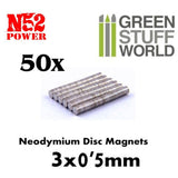Neodymium Magnets 3x0'5mm - 50 units (N52) -9258- Green Stuff World