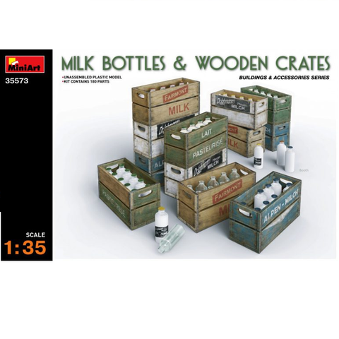 MILK BOTTLES & WOODEN CRATES - 1:35- MiniArt - 35573
