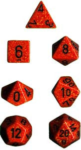 Speckled Poly 7 Dice Set: Fire
