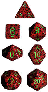 Speckled Poly 7 Dice Set: Strawberry