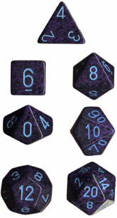 Speckled Poly 7 Dice Set: Cobalt