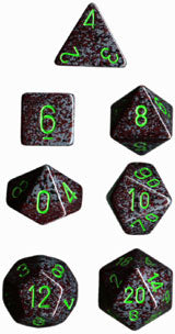 Speckled Poly 7 Dice Set: Earth