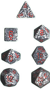 Speckled Poly 7 Dice Set: Granite