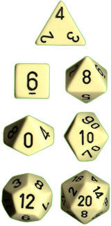 Opaque Poly 7 Dice Set: Light Ivory/Black