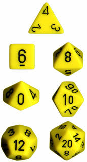 Opaque Poly 7 Dice Set: Yellow/Black